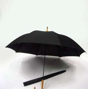 24-Auto-Open-w-Silver-Handle-Black-Checked-Fabric-Design-Umbrella-ULL529D-70
