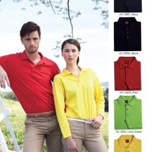 Unisex-Honey-Comb-Long-Sleeve-Polo-HC09-140